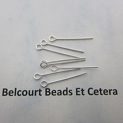 "1000 Metal Open Eye Pins - Silver Color 1"" (25.4mm) - 22GA Easy to Use!"
