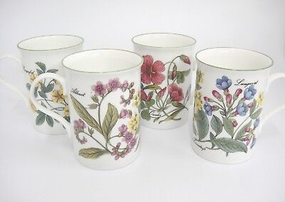 Crown Trent Set of 2 Mugs Staffordshire England Floral Botanical Flax Oxalis