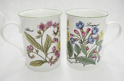 Crown Trent Set of 2 Mugs Staffordshire England Floral Botanical Lungwort Alknet