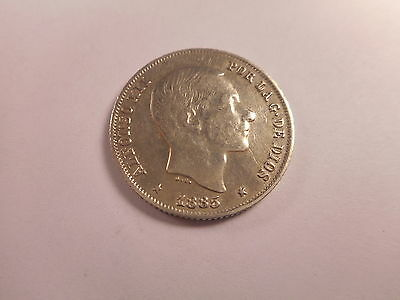 1885 Philippines 20 Centimos - Collector Album Coin - # 101604 - Rim Ding Rev