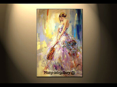 Modern Oil Painting People The Girl Playing The Violin Hand-Painted Canvas DF118