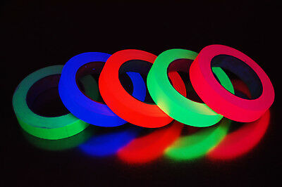5 Pack 1 Inch UV Blacklight Reactive Fluorescent Gaffer Tape 5 Rolls x 25 Yards