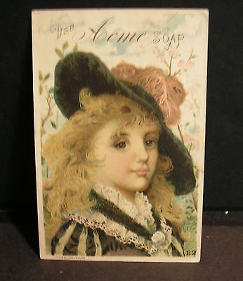 Victorian Trade Card - ACME SOAP - Girl in Big Hat