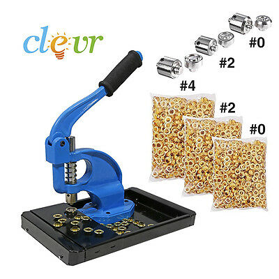 Clevr Hand Press Grommet Machine CatchTray 900 Brass Grommets 3 Dies #0,2,4 Kit