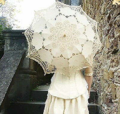 Ladies Victorian Embroidered Cotton Battenburg Lace Parasol in 4 Colours