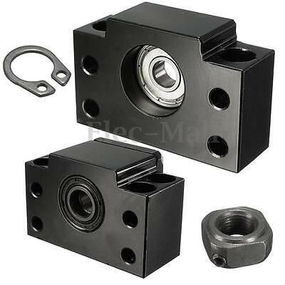 SET BK10+BF10 CNC Ball Screw End Support Bearing Block Mount For 1204 Ballscrew