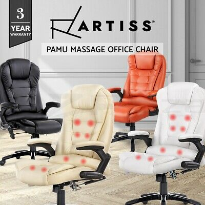 8 Point Massage Executive Office Computer Chair Heated Recliner PU Leather 4 CLR