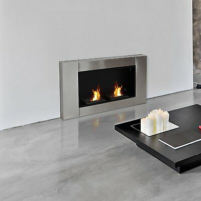 "43.3"" Alcohol Bio-ethanol Fireplace Indoor Burner Luxury 2 Burners Silver"