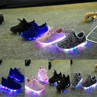 LED Kids Boys Girls Sports Shoes Baby Casual Flats Running Sneaker Mesh Shoes