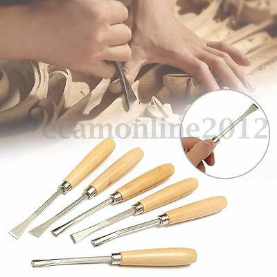 6Pcs Woodworking Wood Carving Hand Chisel Professional Hobby DIY Gouges Tool Set