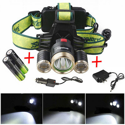 Bright 20000LM 3Mode Headlamp CREE T6 LED Headlight Camping+ Car Charger+2*18650