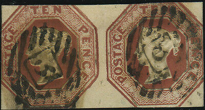 SG 57 Embossed 10d brown, sound used horizontal pair, each stamp with London Inl