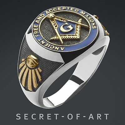 Masonic Ring A.F.A.M. Freemason Silver 925 Sterling with 24K-Gold Plated Parts