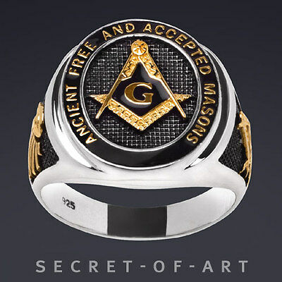 Masonic Ring Freemason A.F.A.M. Silver 925 Black Enamel, 24K-Gold-Plated Parts
