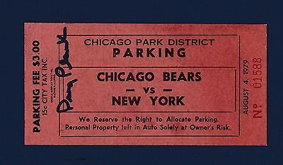 Chicago Bears vs New York Jets 1979 football parking pass signed by Doug Plank