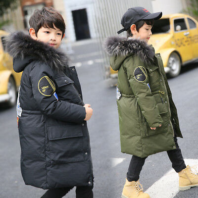 Boys Kids Winter 80% Duck Down Parka School Coat Hooded Quilted Jacket Age 6-12