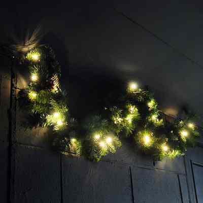 XMAS LARGE 1.2m LUXURY LIGHT UP LED PRE LIT GARLAND DECORATED CHRISTMAS PINE NEW
