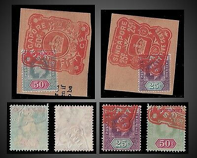 1904 Straits Settlements King Edward Vii Values 25C, 50C Fragments Red Cancell