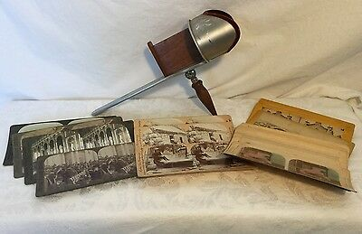 H.C. White THE PERFECSCOPE Stereoscope Viewer Aluminum Wood 22 Stereoview Cards