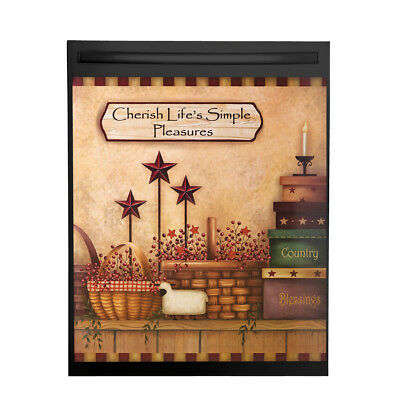 Primitive Country Charm Dishwasher Magnet Cover, Brown, by Collections Etc