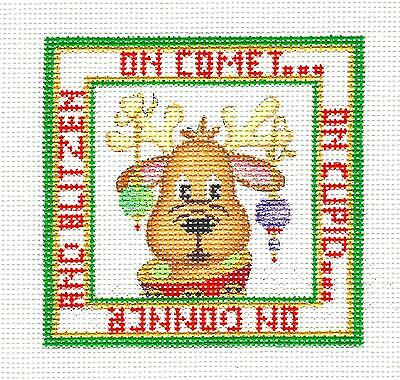 """On Comet, On Cupid"" Night Before Christmas Needlepoint Canvas StrictlyChristmas"