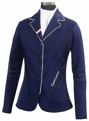 Navy STARS & STRIPES Show ladies Coat Equine Couture Elegance Style & Stretch