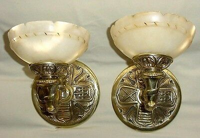 Antiq Victorian Birds Coat Of Arms Pair Bronze Wall Sconces Alabaster Shades • CAD $486.95