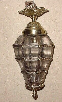 "Antique Bronze Brass Glass Cut Panels Versailles Ceiling Lantern Lamp  17"" Wired"