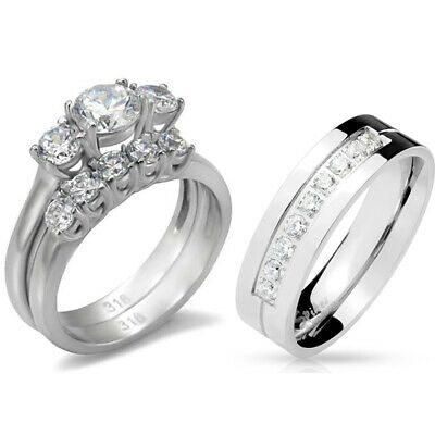 His Hers 3 PCS Stainless Steel Womens Wedding Set w/ Mens 9 Round Clear CZ Band