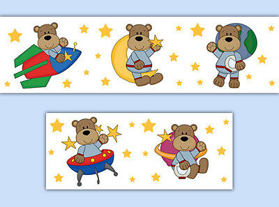 Astronaut Teddy Bears Wallpaper Wall Border Decals Outer Space Baby Boy Nursery