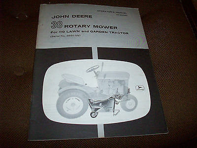John Deere 38 Rotary Mower Operator's Manual for 110 Lawn Tractor