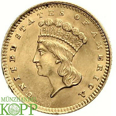 AA1443) USA 1 DOLLAR 1861  Indian Princess Head GOLD