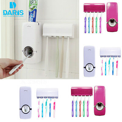 Automatic Toothpaste Dispenser+5 Toothbrush Holder Stand Set Wall Mount Rack UK