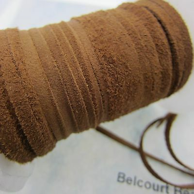 15' - 5 Yards -Light Brown Goat Suede 3.5mm Wide - 1mm Thick Soft and Suttle