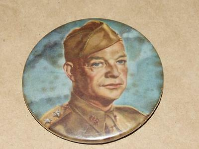 VTG 1952 Advertising Dwight Eisenhower in WWII Uniform Campaign Pin Back Button