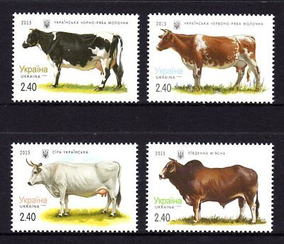 Ukraine 2015 Cattle Breeds Set 4 MNH