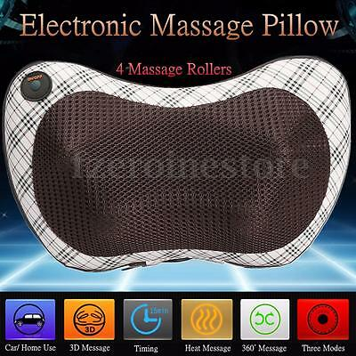 Electronic Plaid Car Massage Pillow Cushion Neck Back Head Full Body Massager