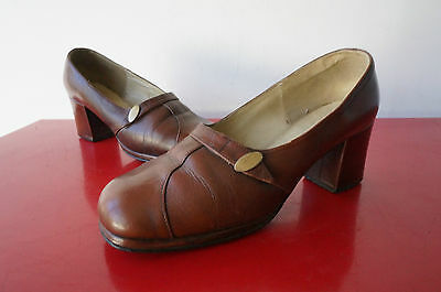 ESCARPINS T 37 RETRO vINTAGE vtg cuir leather SIXTIES