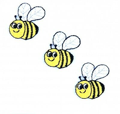 Craft Factory Iron or Sew On Fabric Motif Applique Three Bees - each (CFM1004)