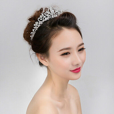 Wedding Bridal Princess Hair Tiara Crown Crystal Austrian Veil Headband Prom