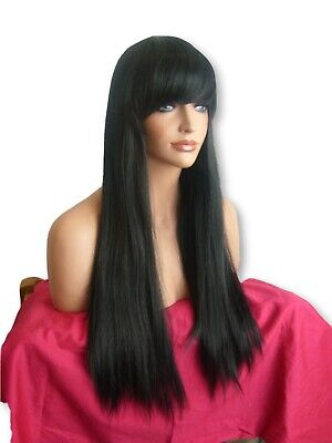 Womens Ladies Adult Halloween Party Long Straight Full Jet Black Wig N1