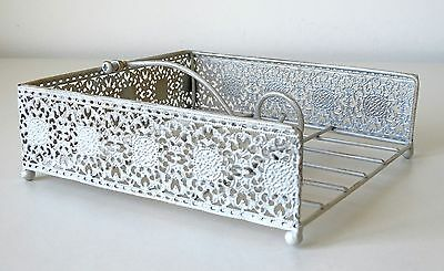 Napkin Holder Chic & Shabby Style Metal Cut-Out Pattern Cream Napkin Dispenser