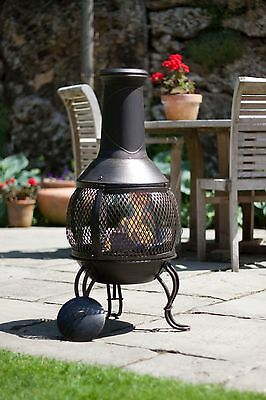 La Hacienda Leon Black Steel Mesh 90Cm Chiminea Chimenea Patio Heater