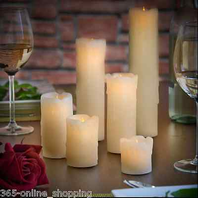 6x Assorted Skinny Real Wax Candle Battery Operated LED Flameless Pillar Candles