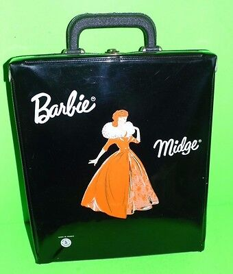 1960s VINTAGE BARBIE MIDGE BLACK TRAVEL  DOLL & OUTFIT  CASE MADE IN FRANCE