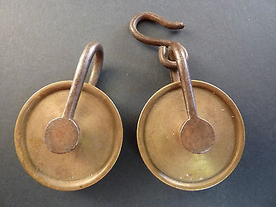 ANTIQUE PAIR OF 38mm BRASS GUT LINE PULLEYS FOR LONGCASE CLOCK