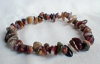 Watermelon Tourmaline Crystal Chipped Bracelet~Reiki~Protection~Pagan Jewellery