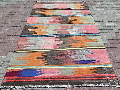 "Vintage Turkish Rug,Wool Antalya Kilim,Arearugs 59,8""x100"" Floorrug,Kelim,Carpet"