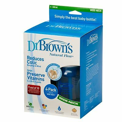 Dr Browns Wideneck 240ml Four Baby Feeding Bottles Blue with Teat (4 Pack)