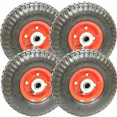 "Four 10"" Sack Truck Pneumatic Spare Wheel Tyre Red Trolley Cart"
